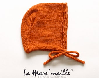 Birth cap beguin in orange wool or 15 colors of choice Model Angel knitted hand La Mare'maille