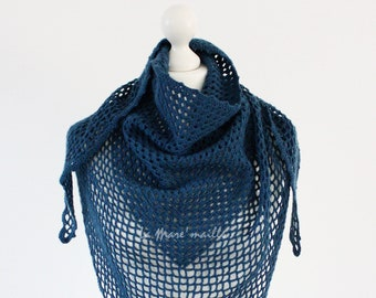 Maxi chèche in blue wool crochet by hand by La Mare'maille
