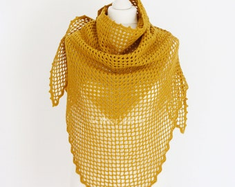 Chale chèche XL in yellow wool mustard crochet by hand by La Mare'maille