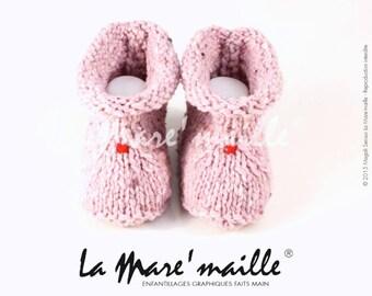 Baby wool tweed pink shetland for rustic chic de La Mare' mesh
