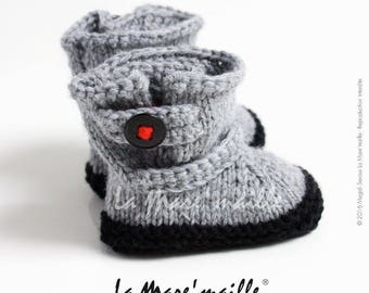 Slippers wool style baby boots knit black and gray motorcycle hand de La Mare' mesh