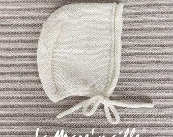 Baby crush cap in merino wool ecru knit hand La Mare'maille