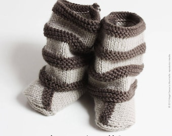 SET shoes and gaiters leggings baby style Brown wool knit boho hand de La Mare' mesh