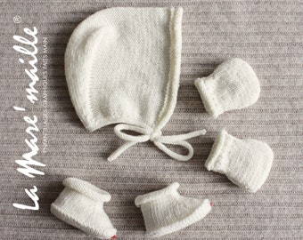 Set Bonnet beguin, slippers and mittens baby wool Merino ecru trico hand La Mare'maille