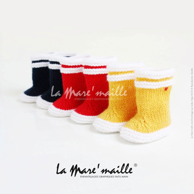 La Mare'maille baby rain boots in wool tribute to the image 0