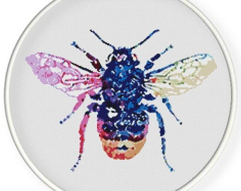Instant Download,Free shipping,Counted Cross stitch pattern,Cross-Stitch PDF,colorful watercolor bee,zxxc0966