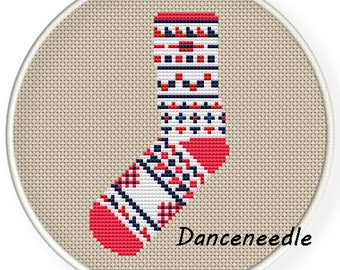Instant Download,Free shipping,Counted Cross stitch pattern,Cross-Stitch PDF,warm sock,ZXXC-26