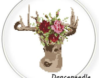 Instant Download,Free shipping,Counted Cross stitch pattern,Cross-Stitch PDF,dear with rose flowers,zxxc-013