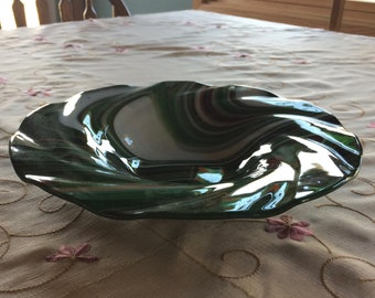 Slumped Glass Bowl with Wide Rim in Green, White, and Red
