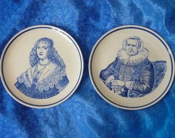 Blue and White Delft Plates - Vintage Delft Ladies Plates -  Handpainted Plates - Blue and White Decorative Plates - Vintage Dutch Ladies