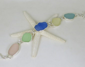 Pastels Sea Glass Bezel Bracelet Maine