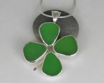 Four Leaf Clover Shamrock Sea Glass Bezel Pendant Necklace Maine