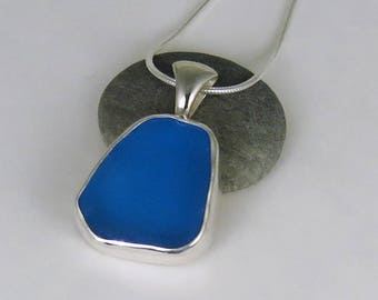 Turquoise Sea Glass Bezel Pendant Necklace Maine