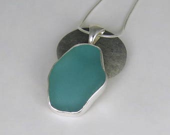 Aqua Sea Glass Bezel Pendant Necklace Maine