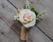 Wine Cork Boutonniere - Peach Rose and Succulent Boutonniere with Berries