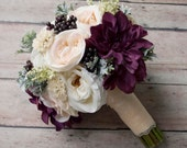Rustic Silk Wedding Bouquet with Blush Ivory and Plum Garden Roses and Dahlias