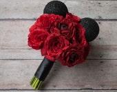 Disney Wedding Mickey Wedding Bouquet - Red Rose Wedding Bouquet