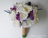 Rustic Wedding Bouquet, Ivory Rose and Purple Wildflower Bridal Bouquet, Silk Wedding Bouquet
