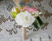 Rustic Boutonniere with Ivory Rose and Wildflowers and Burlap Wrap