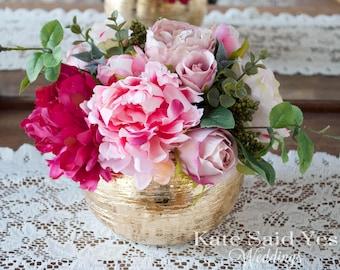 Wedding Centerpiece, Peony and Rose Gold Wedding Centerpiece, Gold Centerpiece