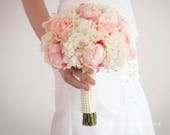 Shabby Chic Wedding Bouquet, Peony Bouquet, Blush Bouquet, Silk Bouquet, Wedding Bouquet, Bridal Bouquet, Wedding Flowers