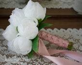 Wedding Bouquet, White Peony Bud Bridal Bouquet, Silk Wedding Bouquet