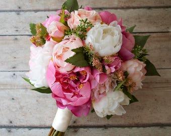 Pink Peony Bouquet, Silk Wedding Bouquet, Rustic Bouquet, Silk Bouquet, Bridal Bouquet, Garden Bouquet