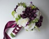 Rustic Wedding Bouquet, Plum Dahlia and Ivory Rose Bridal Bouquet, Silk Wedding Bouquet