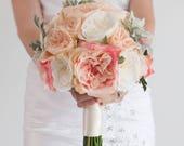 Blush Pink Garden Rose Silk Wedding Bouquet with Dusty Miller
