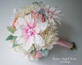 Wedding Bouquet, Blush Pink Dahlia Peony and Hydrangea Bridal Bouquet, Silk Wedding Bouquet