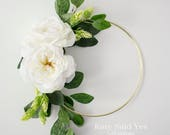 White Rose Floral Hoop Wreath Bouquet