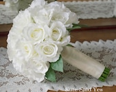 White Rose Silk Wedding Bridal Bouquet with Greenery