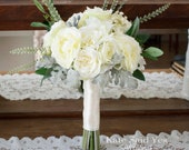 Ivory Rose and Ranunculus Garden Style Bridal Bouquet with Greenery Eucalyptus and Dusty Miller