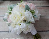 Rustic Blush and Ivory Peony Silk Wedding Bouquet with Lambs Ear Greenery