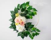Hoop Wreath, Floral Hoop, Wedding Hoop, Flower Hoop, Wedding Decoration, Rose and Hydrangea Floral Hoop, Hoop Bouquet, Greenery Wreath