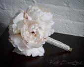 Petite Ivory Peony Wedding Bouquet with Rhinestone Handle