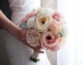 Rustic Wedding Bouquet with Peach Ivory and Blush Peony Garden Rose and Lamb's Ear