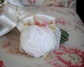 Wedding Corsage - Ivory Peony Bud Wristlet Corsage