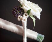 White Rose Silk Wedding Boutonniere - White Rose, Lavender Scabiosa and Berries