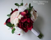 Silk Wedding Bouquet with Burgundy and Blush Pink Peonies Roses and Eucalyptus Greenery