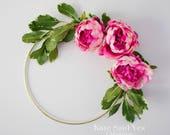 Hoop Wreath, Floral Hoop, Wedding Hoop, Flower Hoop, Wedding Decoration, Fuchsia Pink Peony Floral Hoop, Hoop Bouquet, Greenery Wreath