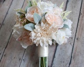 Rustic Garden Wedding Bouquet of Blush and Ivory Dahlias Peonies and Roses