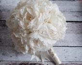 Ivory Peony Wedding Bouquet - Silk Peony Bridal Bouquet