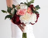 Rustic Silk Wedding Bouquet with Burgundy Ivory and Blush Peonies and Garden Roses and Eucalyptus Greenery