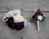 Wedding Boutonniere and Corsage Set - Plum Purple and Ivory Rose and Ranunculus Boutonniere and Corsage