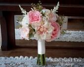 Rustic Bouquet, Blush Bouquet, Wedding Bouquet, Rose Bouquet, Silk Bouquet, Garden Bouquet, Silk Flowers