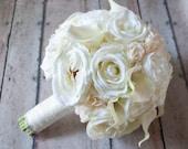 Shabby Chic Wedding Bouquet - Ivory Rose Ranunculus Hydrangea Wedding Bouquet