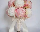 Ivory and Blush Pink Peony Bud Wedding Bouquet - Peony Wedding Bouquet