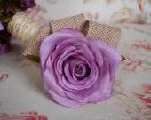 Lavender Burlap Rose Wedding Corsage