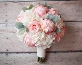 Peony Rose and Hydrangea Shabby Chic Wedding Bouquet with Lace Wrap and Lambs Ear